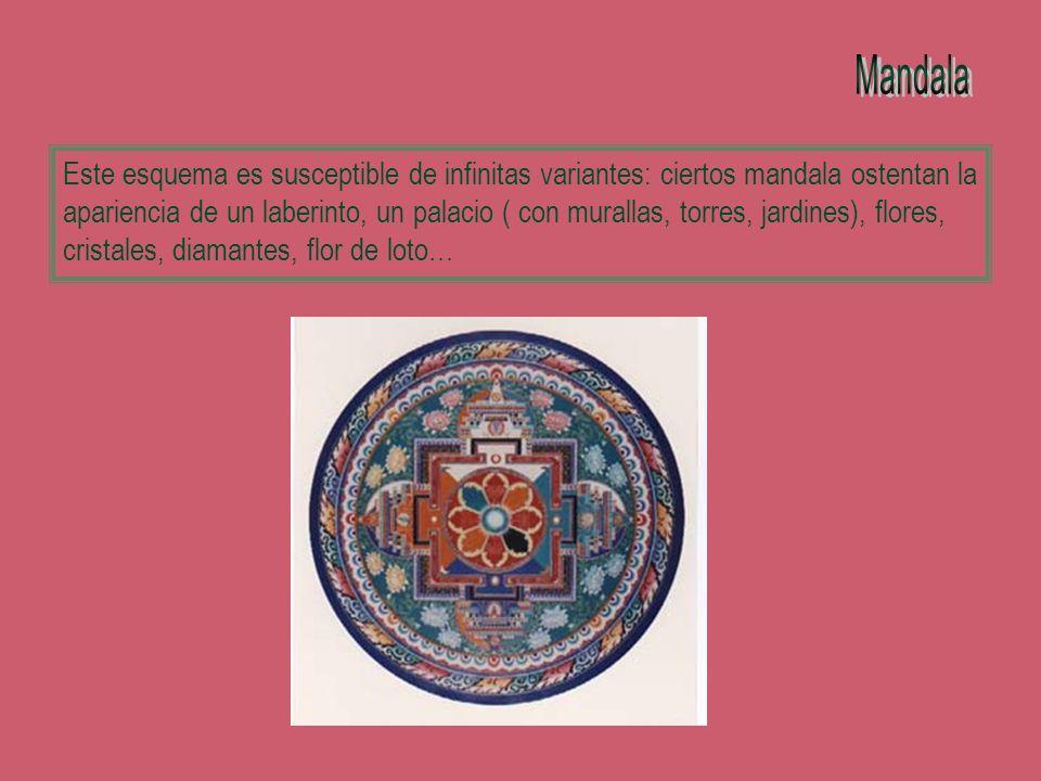Este esquema es susceptible de infinitas variantes: ciertos mandala ostentan la apariencia de un laberinto, un palacio ( con murallas, torres, jardine