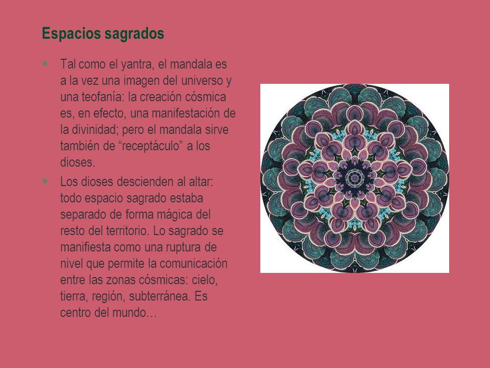 Espacios sagrados §Tal como el yantra, el mandala es a la vez una imagen del universo y una teofanía: la creación cósmica es, en efecto, una manifesta