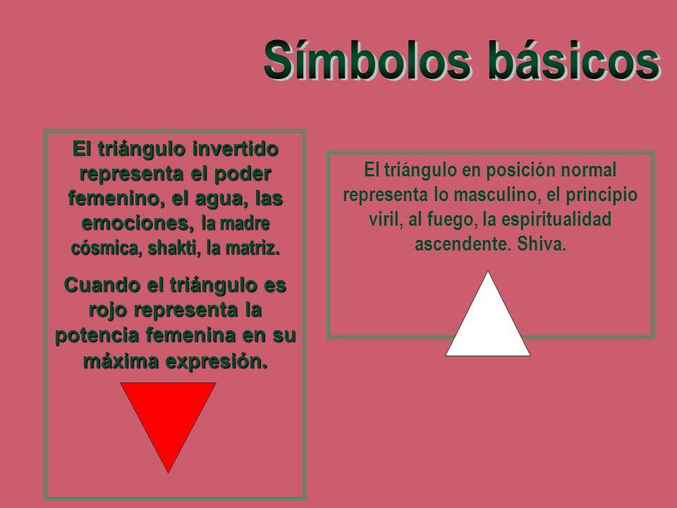 El triángulo en posición normal representa lo masculino, el principio viril, al fuego, la espiritualidad ascendente. Shiva. El triángulo invertido rep