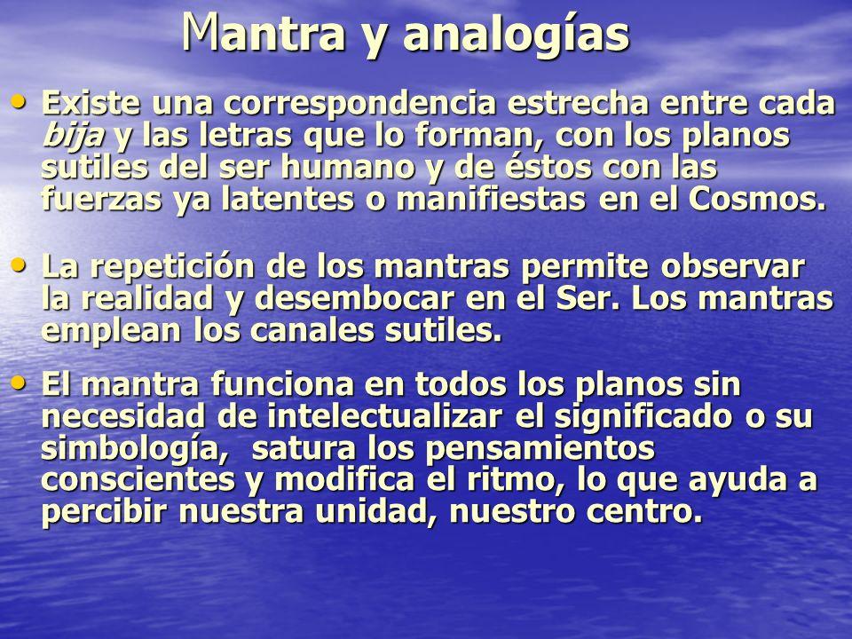 M antra y analogías Existe una correspondencia estrecha entre cada bija y las letras que lo forman, con los planos sutiles del ser humano y de éstos c