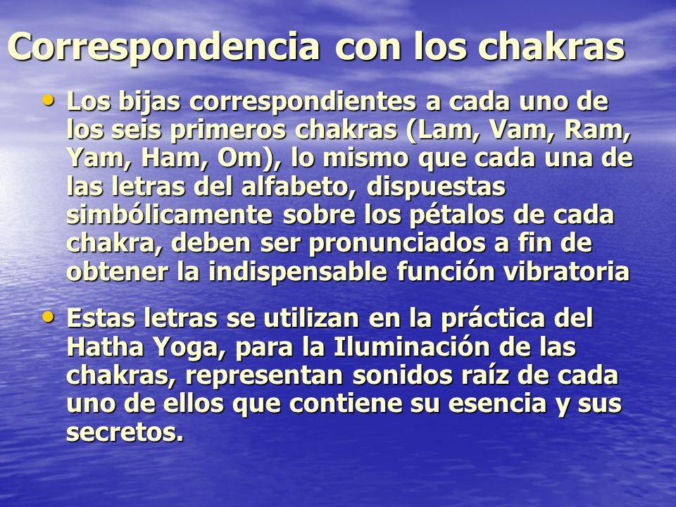 Correspondencia con los chakras Los bijas correspondientes a cada uno de los seis primeros chakras (Lam, Vam, Ram, Yam, Ham, Om), lo mismo que cada un