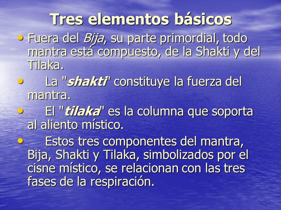 Tres elementos básicos Fuera del Bija, su parte primordial, todo mantra está compuesto, de la Shakti y del Tilaka. Fuera del Bija, su parte primordial