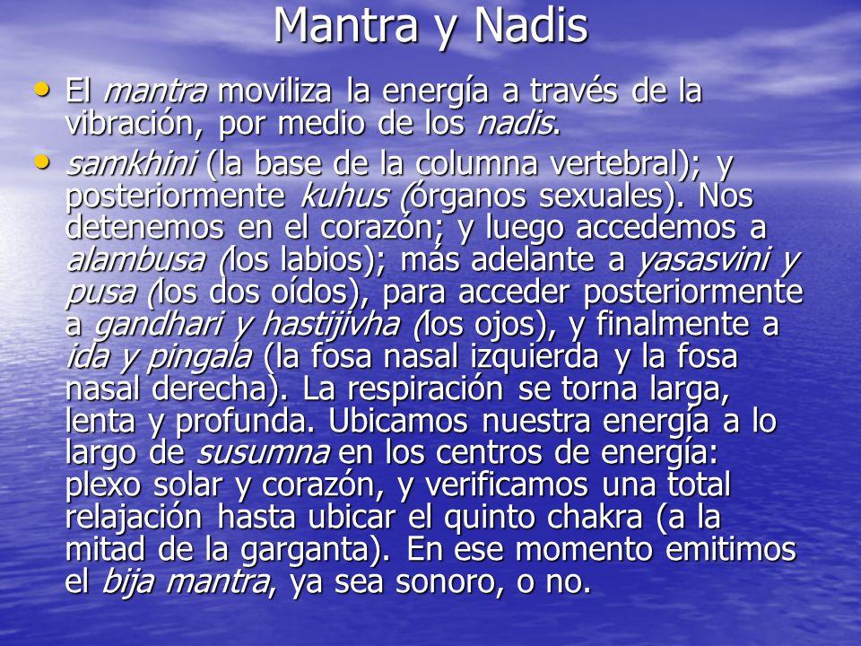 Mantra y Nadis El mantra moviliza la energía a través de la vibración, por medio de los nadis. El mantra moviliza la energía a través de la vibración,
