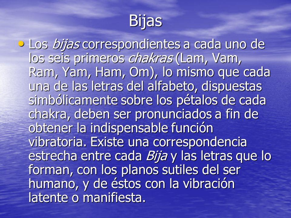 Bijas Los bijas correspondientes a cada uno de los seis primeros chakras (Lam, Vam, Ram, Yam, Ham, Om), lo mismo que cada una de las letras del alfabe