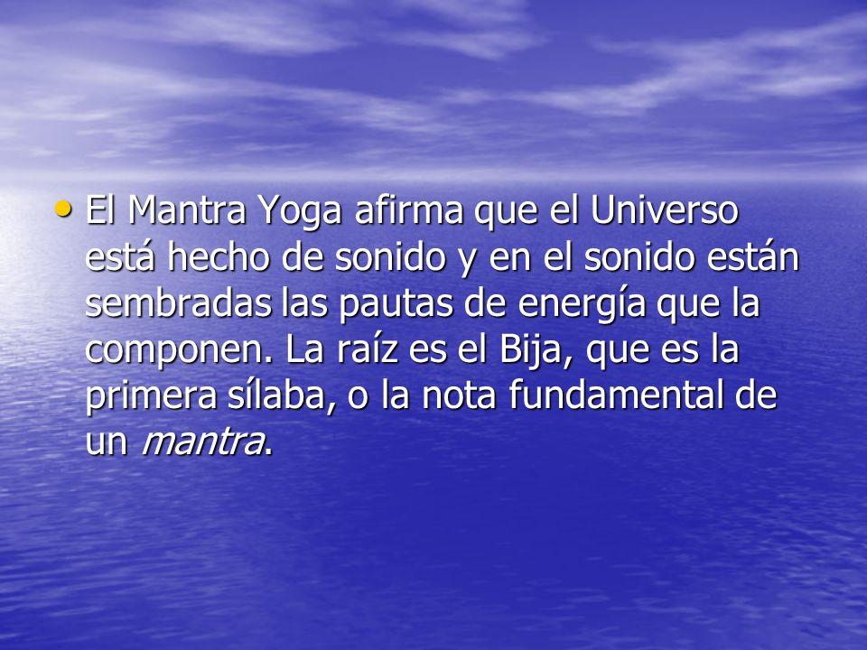 El Mantra Yoga afirma que el Universo está hecho de sonido y en el sonido están sembradas las pautas de energía que la componen. La raíz es el Bija, q