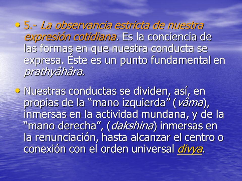 5.- La observancia estricta de nuestra expresión cotidiana. Es la conciencia de las formas en que nuestra conducta se expresa. Éste es un punto fundam