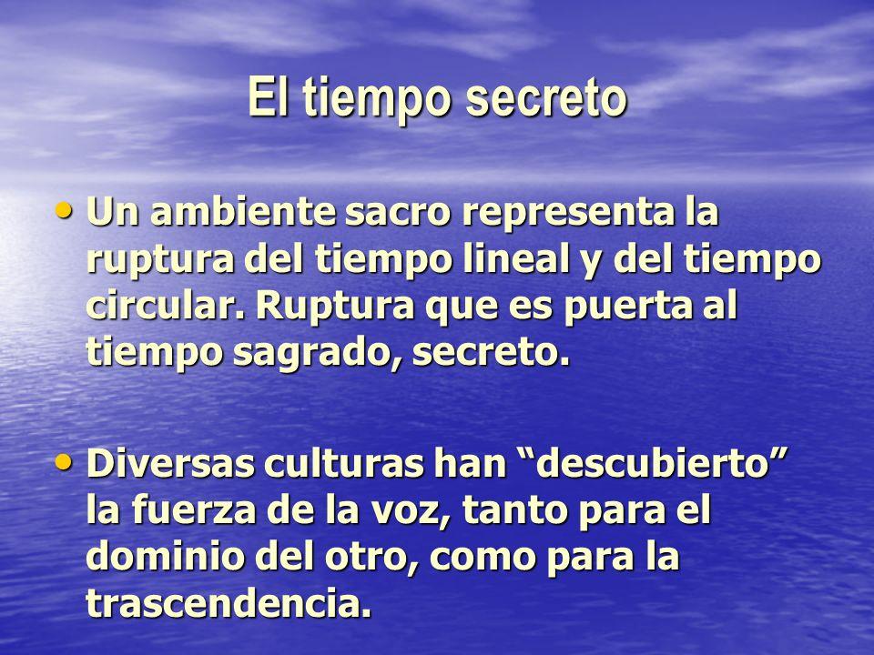 El tiempo secreto Un ambiente sacro representa la ruptura del tiempo lineal y del tiempo circular. Ruptura que es puerta al tiempo sagrado, secreto. U