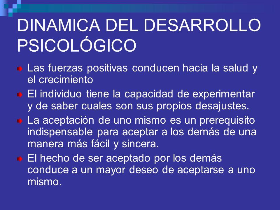 DINAMICA DEL DESARROLLO PSICOLÓGICO Las fuerzas positivas conducen hacia la salud y el crecimiento El individuo tiene la capacidad de experimentar y d