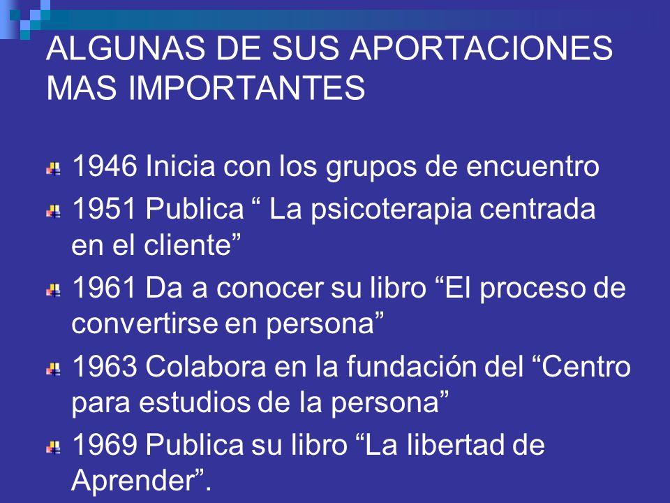 ALGUNAS DE SUS APORTACIONES MAS IMPORTANTES 1946 Inicia con los grupos de encuentro 1951 Publica La psicoterapia centrada en el cliente 1961 Da a cono