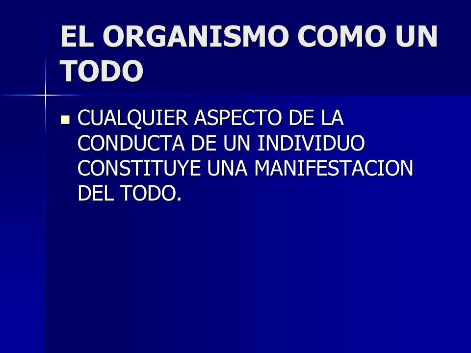 EL ORGANISMO COMO UN TODO CUALQUIER ASPECTO DE LA CONDUCTA DE UN INDIVIDUO CONSTITUYE UNA MANIFESTACION DEL TODO. CUALQUIER ASPECTO DE LA CONDUCTA DE