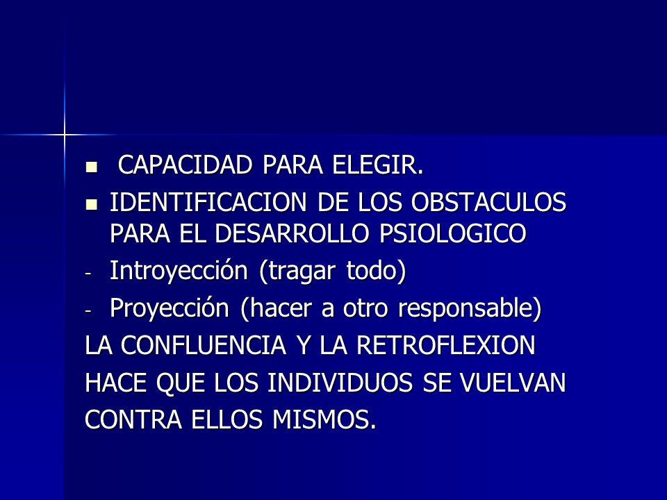 CAPACIDAD PARA ELEGIR. CAPACIDAD PARA ELEGIR. IDENTIFICACION DE LOS OBSTACULOS PARA EL DESARROLLO PSIOLOGICO IDENTIFICACION DE LOS OBSTACULOS PARA EL