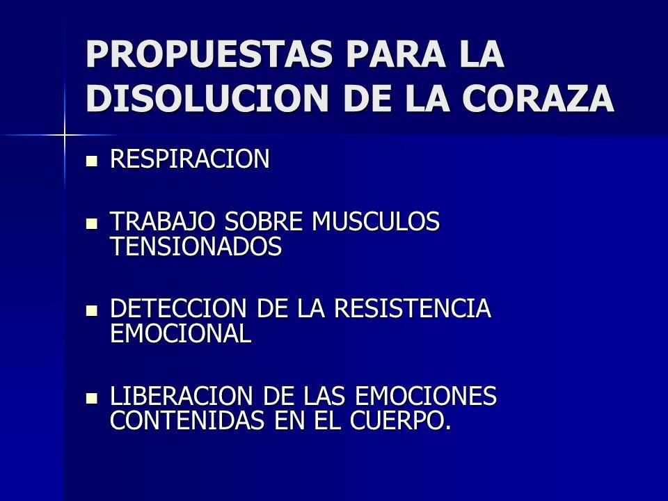 PROPUESTAS PARA LA DISOLUCION DE LA CORAZA RESPIRACION RESPIRACION TRABAJO SOBRE MUSCULOS TENSIONADOS TRABAJO SOBRE MUSCULOS TENSIONADOS DETECCION DE
