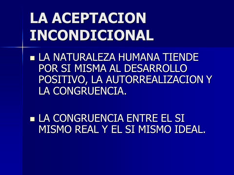 LA ACEPTACION INCONDICIONAL LA NATURALEZA HUMANA TIENDE POR SI MISMA AL DESARROLLO POSITIVO, LA AUTORREALIZACION Y LA CONGRUENCIA. LA NATURALEZA HUMAN