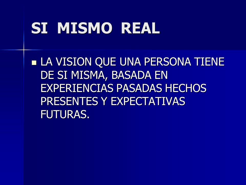 SI MISMO REAL LA VISION QUE UNA PERSONA TIENE DE SI MISMA, BASADA EN EXPERIENCIAS PASADAS HECHOS PRESENTES Y EXPECTATIVAS FUTURAS. LA VISION QUE UNA P