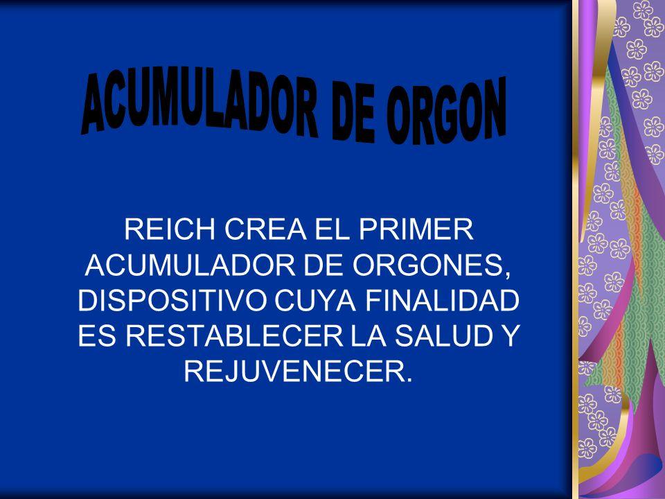 REICH CREA EL PRIMER ACUMULADOR DE ORGONES, DISPOSITIVO CUYA FINALIDAD ES RESTABLECER LA SALUD Y REJUVENECER.