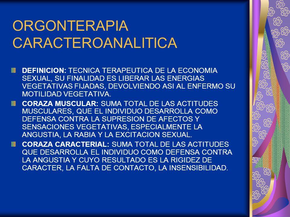 ORGONTERAPIA CARACTEROANALITICA DEFINICION: TECNICA TERAPEUTICA DE LA ECONOMIA SEXUAL, SU FINALIDAD ES LIBERAR LAS ENERGIAS VEGETATIVAS FIJADAS, DEVOL