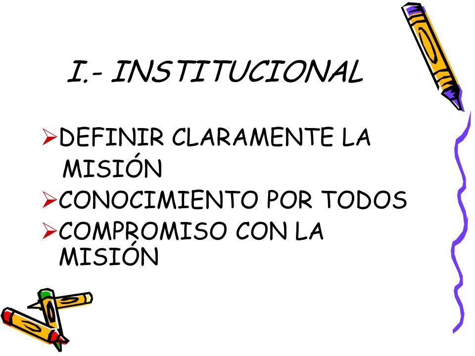 I.- INSTITUCIONAL DEFINIR CLARAMENTE LA MISIÓN CONOCIMIENTO POR TODOS COMPROMISO CON LA MISIÓN