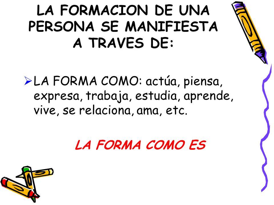 LA FORMACION DE UNA PERSONA SE MANIFIESTA A TRAVES DE: LA FORMA COMO: actúa, piensa, expresa, trabaja, estudia, aprende, vive, se relaciona, ama, etc.