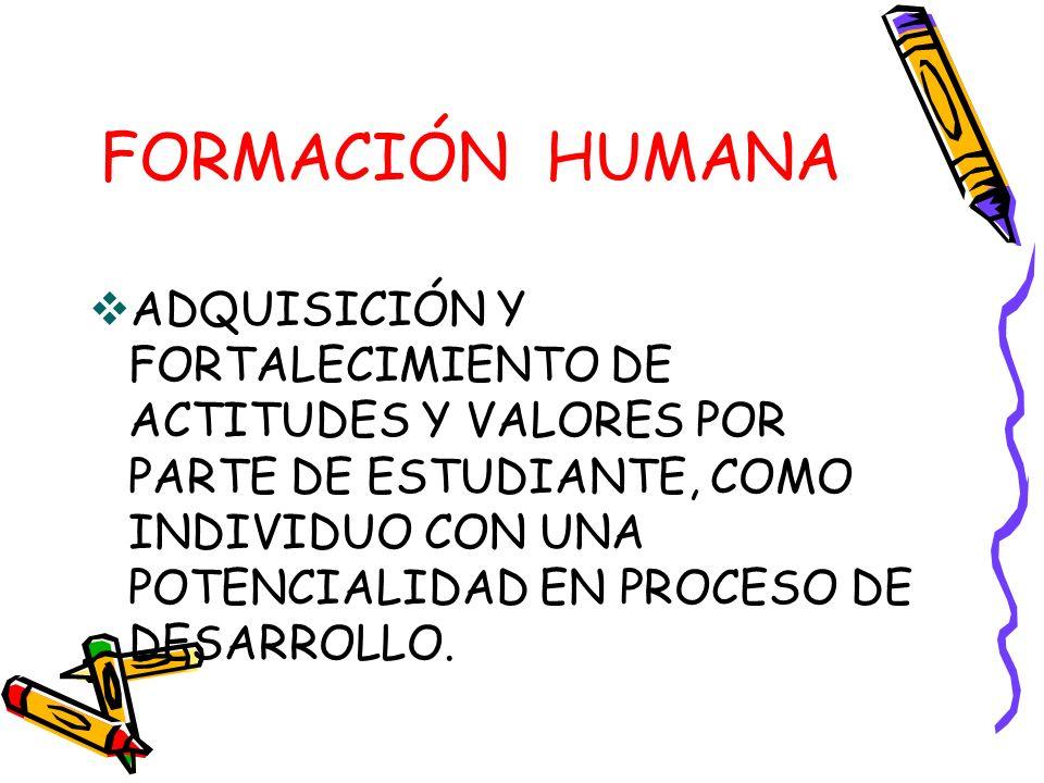 FORMACIÓN HUMANA ADQUISICIÓN Y FORTALECIMIENTO DE ACTITUDES Y VALORES POR PARTE DE ESTUDIANTE, COMO INDIVIDUO CON UNA POTENCIALIDAD EN PROCESO DE DESARROLLO.