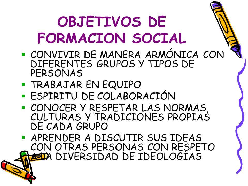 OBJETIVOS DE FORMACION SOCIAL CONVIVIR DE MANERA ARMÓNICA CON DIFERENTES GRUPOS Y TIPOS DE PERSONAS TRABAJAR EN EQUIPO ESPIRITU DE COLABORACIÓN CONOCER Y RESPETAR LAS NORMAS, CULTURAS Y TRADICIONES PROPIAS DE CADA GRUPO APRENDER A DISCUTIR SUS IDEAS CON OTRAS PERSONAS CON RESPETO A LA DIVERSIDAD DE IDEOLOGÍAS