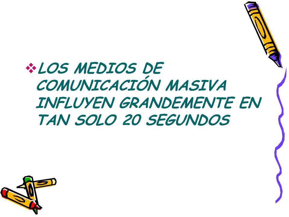 LOS MEDIOS DE COMUNICACIÓN MASIVA INFLUYEN GRANDEMENTE EN TAN SOLO 20 SEGUNDOS