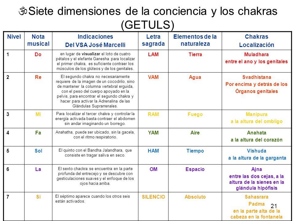 21 Siete dimensiones de la conciencia y los chakras (GETULS) NivelNota musical Indicaciones Del VSA José Marcelli Letra sagrada Elementos de la natura