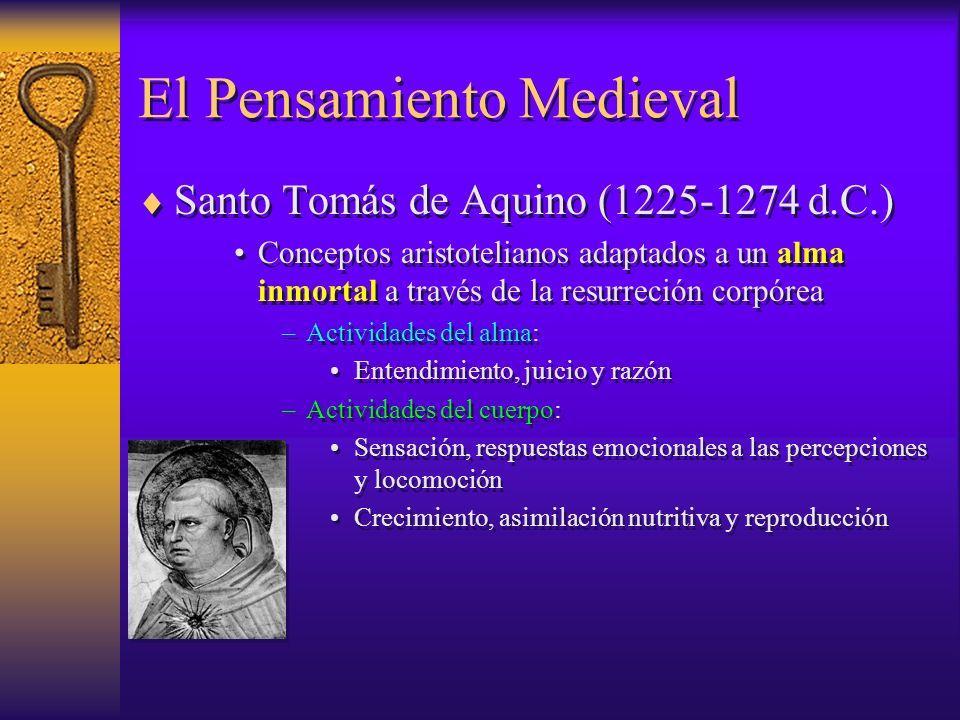 El Pensamiento Medieval Santo Tomás de Aquino (1225-1274 d.C.) Conceptos aristotelianos adaptados a un alma inmortal a través de la resurreción corpór
