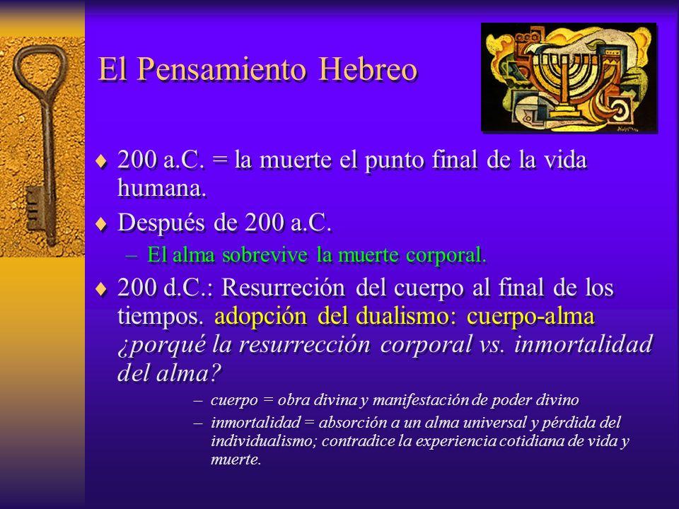 El Pensamiento Hebreo 200 a.C. = la muerte el punto final de la vida humana. Después de 200 a.C. –El alma sobrevive la muerte corporal. 200 d.C.: Resu