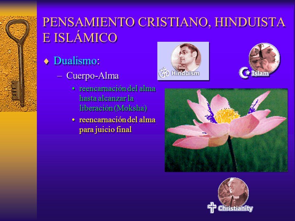 PENSAMIENTO CRISTIANO, HINDUISTA E ISLÁMICO Dualismo: –Cuerpo-Alma reencarnación del alma hasta alcanzar la liberación (Moksha) reencarnación del alma