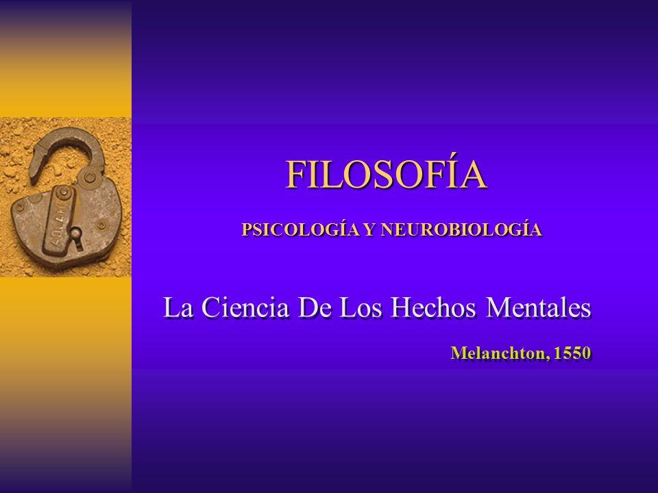 FILOSOFÍA PSICOLOGÍA Y NEUROBIOLOGÍA La Ciencia De Los Hechos Mentales Melanchton, 1550 La Ciencia De Los Hechos Mentales Melanchton, 1550