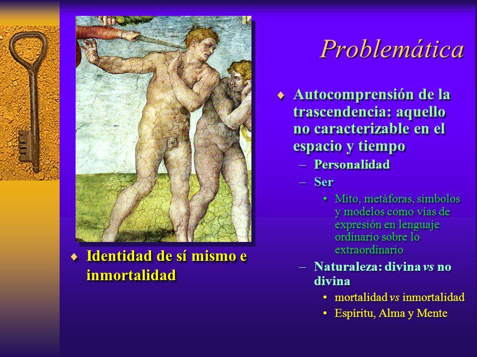 Problemática Identidad de sí mismo e inmortalidad Identidad de sí mismo e inmortalidad Autocomprensión de la trascendencia: aquello no caracterizable