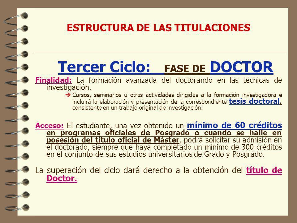ESTRUCTURA DE LAS TITULACIONES Tercer Ciclo: FASE DE DOCTOR Finalidad: La formación avanzada del doctorando en las técnicas de investigación.