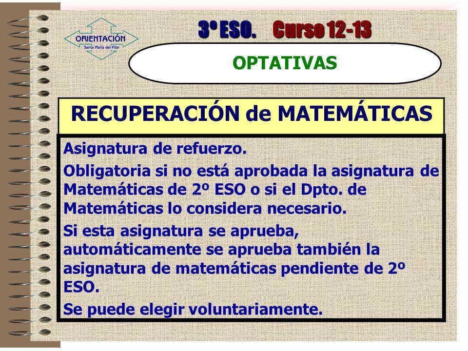 3º ESO.Curso 12-13 OPTATIVAS RECUPERACIÓN de MATEMÁTICAS Asignatura de refuerzo.