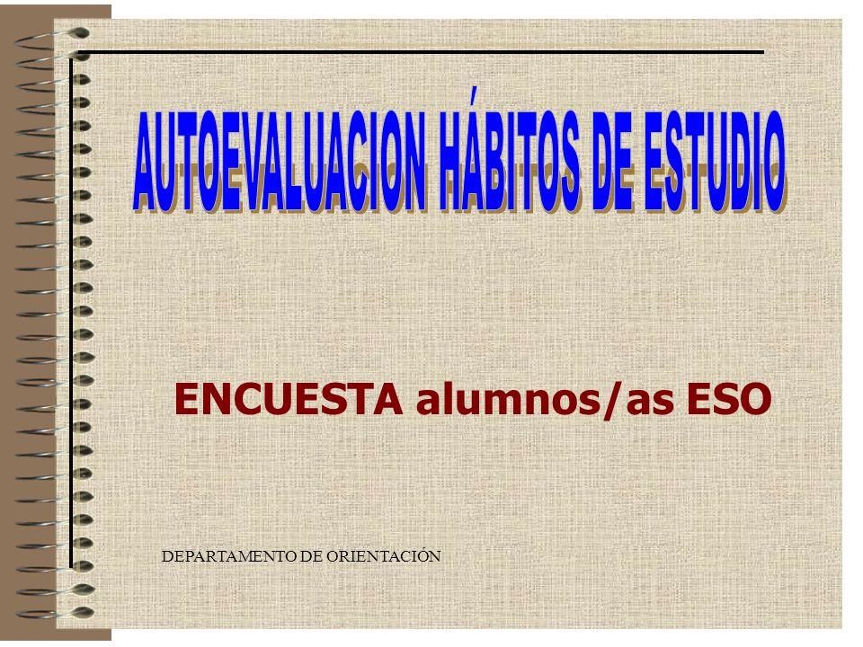 DEPARTAMENTO DE ORIENTACIÓN ENCUESTA alumnos/as ESO