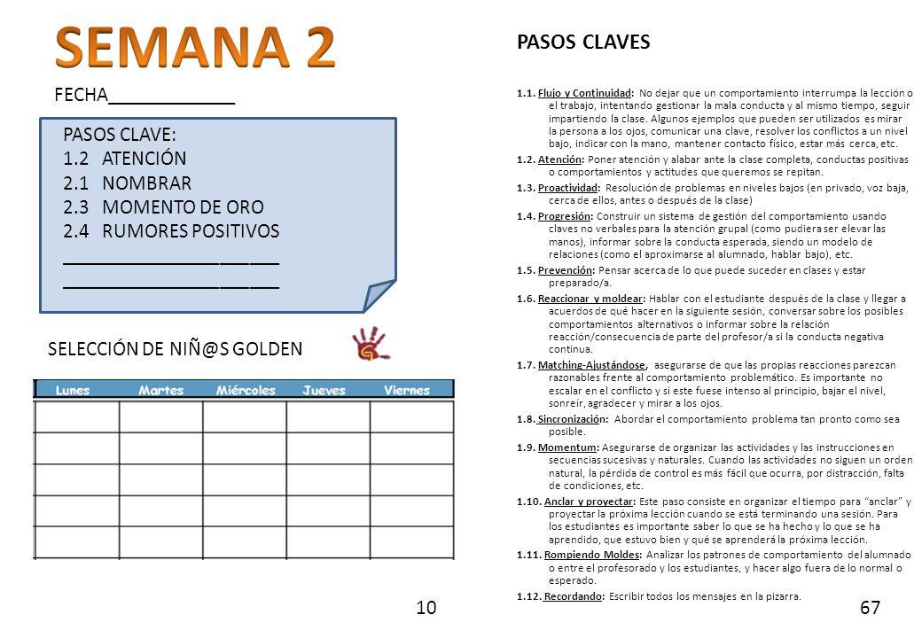 PASOS CLAVE: 1.2 ATENCIÓN 2.1 NOMBRAR 2.3 MOMENTO DE ORO 2.4 RUMORES POSITIVOS ______________________ SELECCIÓN DE NIÑ@S GOLDEN FECHA_____________ 10