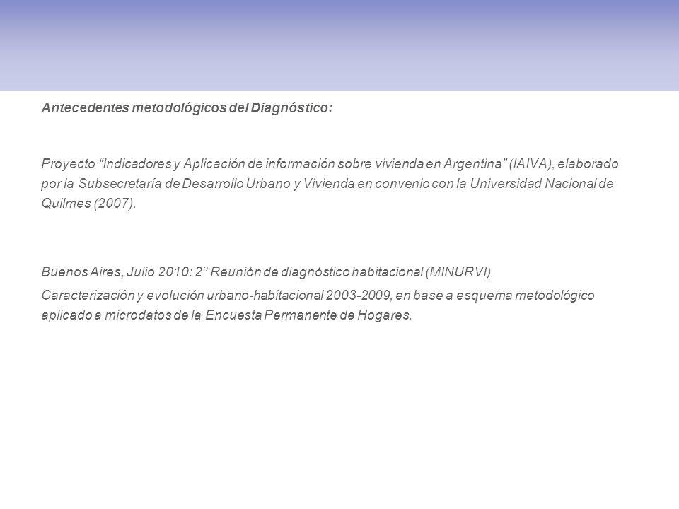 Antecedentes metodológicos del Diagnóstico: Proyecto Indicadores y Aplicación de información sobre vivienda en Argentina (IAIVA), elaborado por la Sub