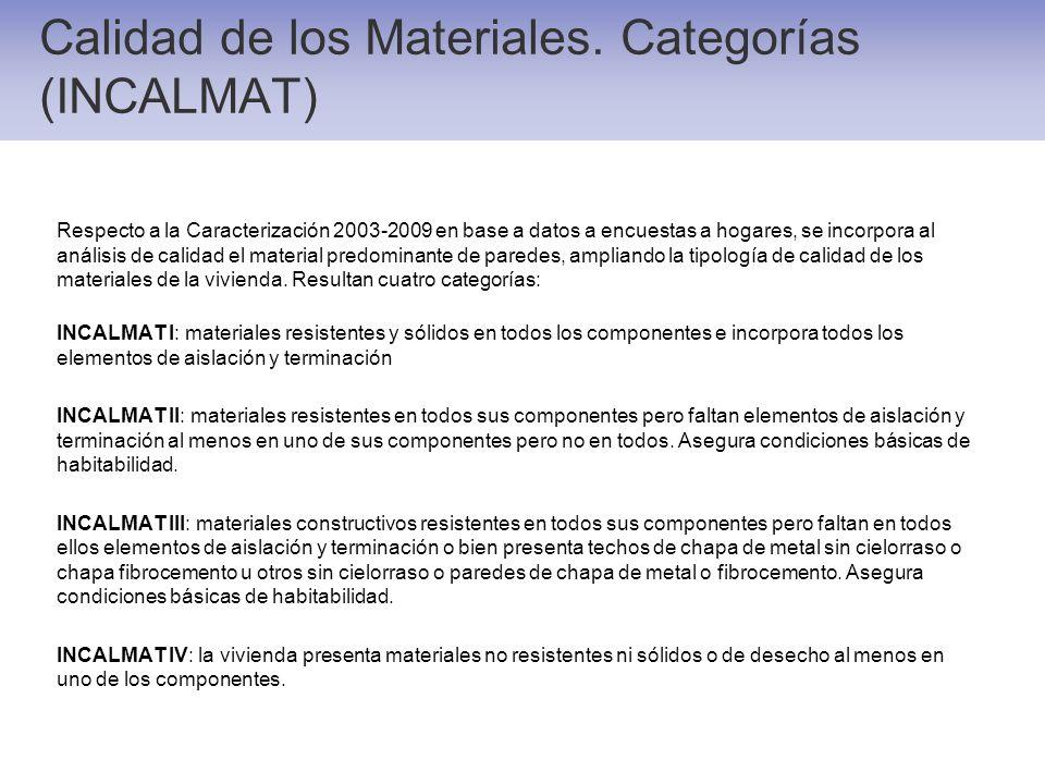 Calidad de los Materiales. Categorías (INCALMAT) Respecto a la Caracterización 2003-2009 en base a datos a encuestas a hogares, se incorpora al anális