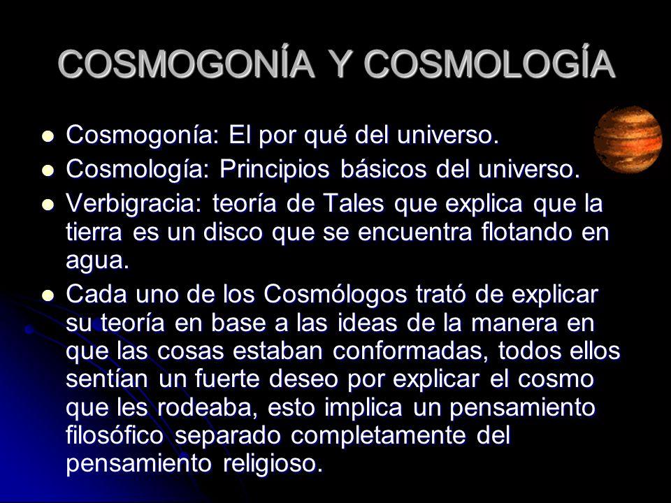 COSMOGONÍA Y COSMOLOGÍA Cosmogonía: El por qué del universo. Cosmogonía: El por qué del universo. Cosmología: Principios básicos del universo. Cosmolo