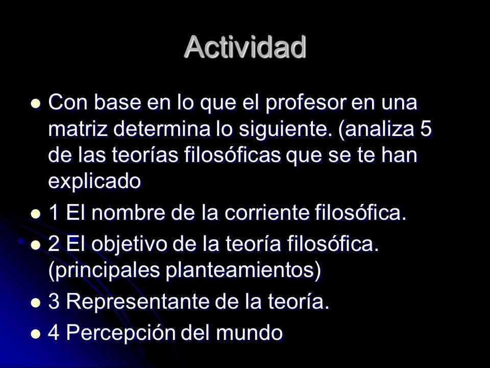 Actividad Con base en lo que el profesor en una matriz determina lo siguiente. (analiza 5 de las teorías filosóficas que se te han explicado Con base