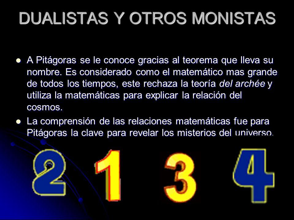 DUALISTAS Y OTROS MONISTAS A Pitágoras se le conoce gracias al teorema que lleva su nombre. Es considerado como el matemático mas grande de todos los