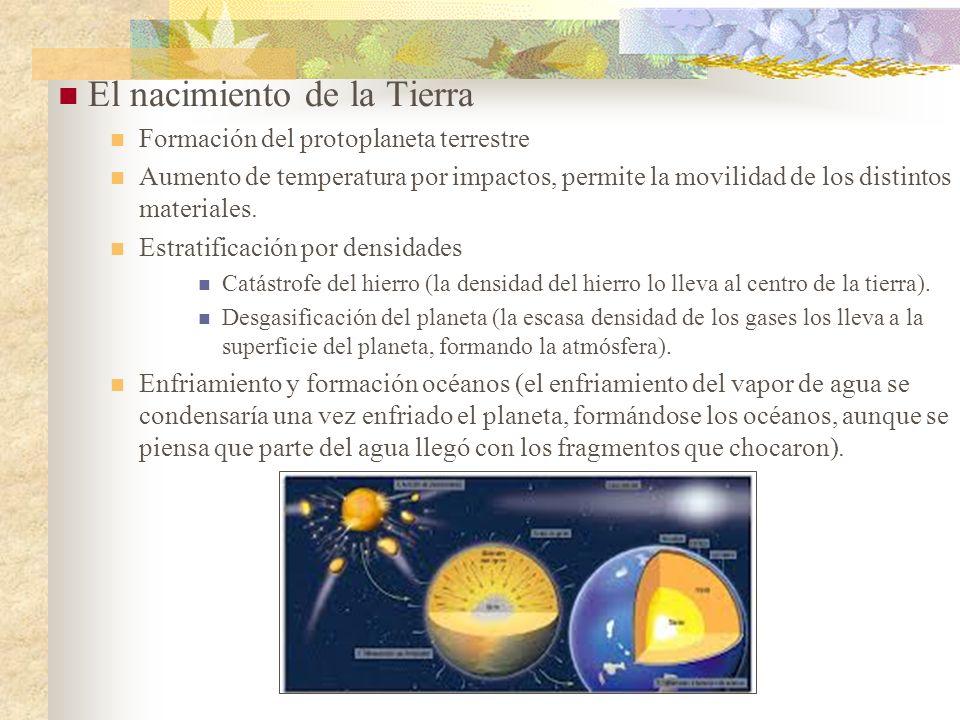 El nacimiento de la Tierra Formación del protoplaneta terrestre Aumento de temperatura por impactos, permite la movilidad de los distintos materiales.