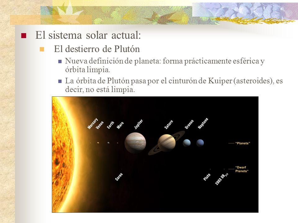 El sistema solar actual: El destierro de Plutón Nueva definición de planeta: forma prácticamente esférica y órbita limpia. La órbita de Plutón pasa po