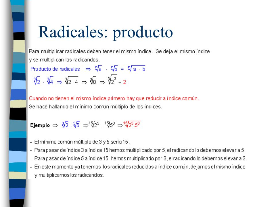Radicales: producto