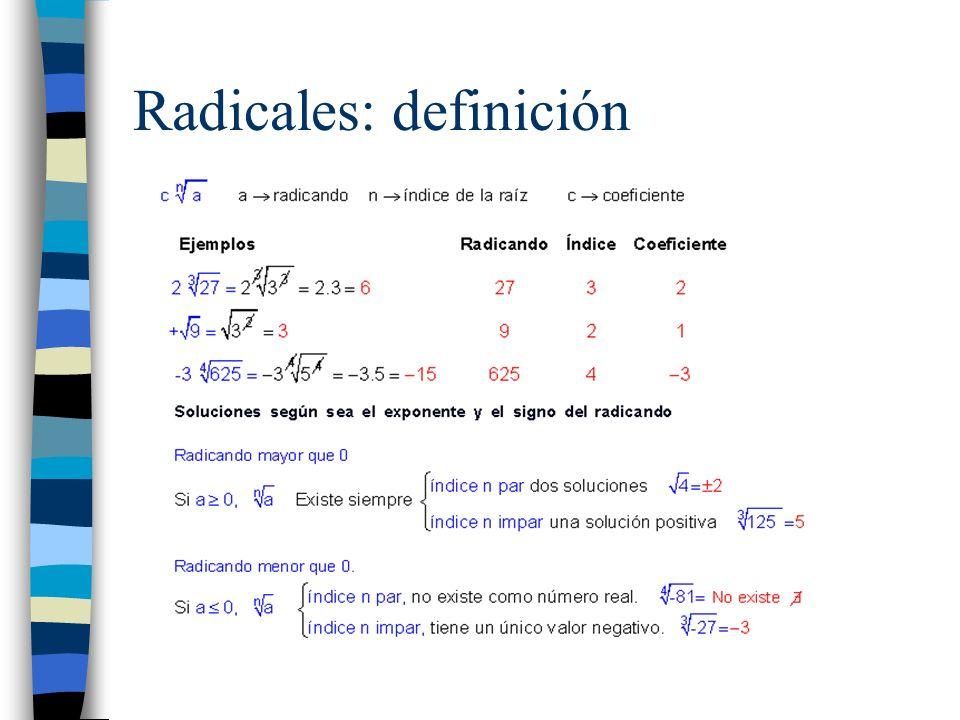 Radicales: forma exponencial Ejercicio 1: