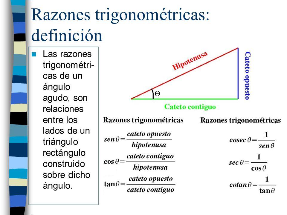 Ejercicio: 1.- Calcula las razones trigonométricas del ángulo α en el siguiente triángulo y calcula su valor con la calculadora: 2.- Calcula las razones trigonométricas del ángulo 35º usando la calculadora: α 6 cm 3 cm