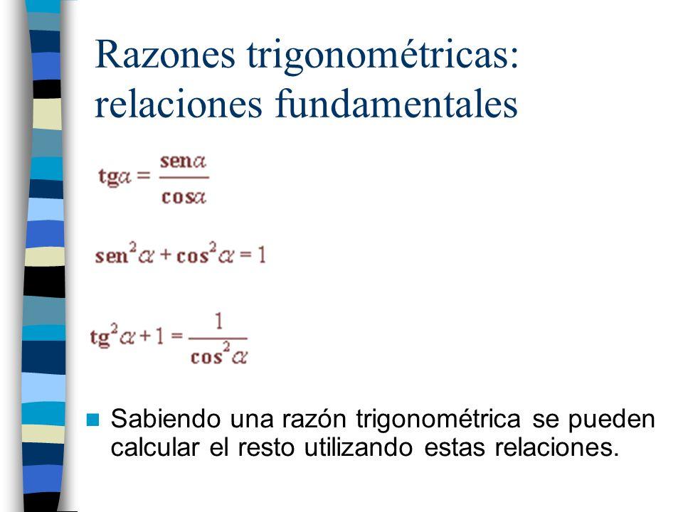 Funciones trigonométricas: Las funciones trigonométricas asocian a cada ángulo (representado en radianes en el eje X) su razón trigonométrica correspondiente (representada en el eje Y).