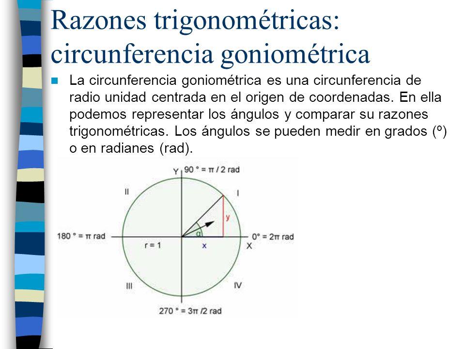 Razones trigonométricas: circunferencia goniométrica Se pueden calcular las razones trigonométricas de cualquier ángulo comparándolo con las de otro ángulo que sí conozcamos.*La tg se obtiene como tg = sen /cos Ángulos opuestos Ángulos de más de 360º - Sen(- )=-sen Cos(- )=cos Son iguales, pero hay que restarles 360º por cada vuelta hasta que te quede el ángulo original