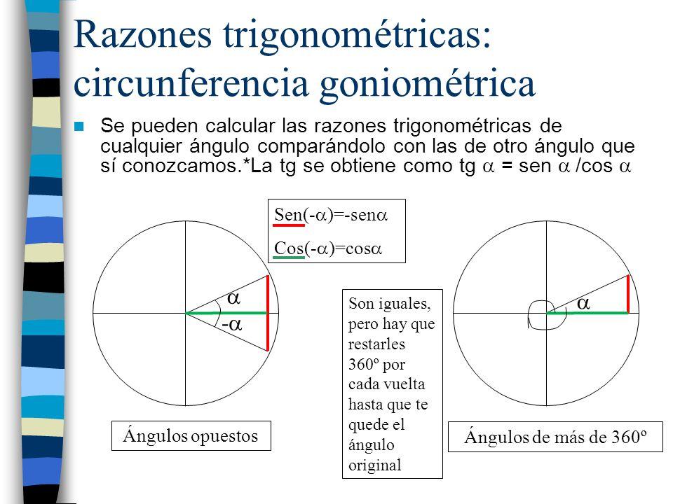 Razones trigonométricas: circunferencia goniométrica Ángulos suplementarios (suman 180º) Ángulos que difieren en 180º Sen(180º- ) = sen Cos(180º- )=-cos Sen(180º+ )=-sen Cos(180º+ )=-cos