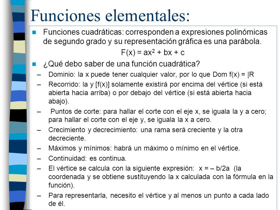 Funciones elementales: Funciones cuadráticas: corresponden a expresiones polinómicas de segundo grado y su representación gráfica es una parábola. F(x