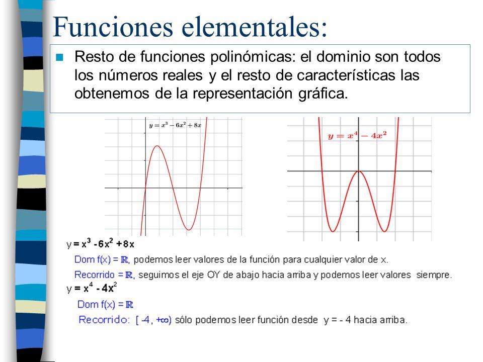 Funciones elementales: Resto de funciones polinómicas: el dominio son todos los números reales y el resto de características las obtenemos de la repre